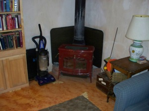 Wood stove in the northeast corner.