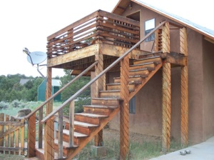 The stairs and Smoking Deck.